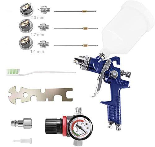 KKTECT HVLP Pistola a spruzzo ad alta atomizzazione Pistola a spruzzo per riparazioni di piccoli mobili per auto con regolatore di pressione dell aria Serbatoio vernice da 600 cc e 3 ugelli