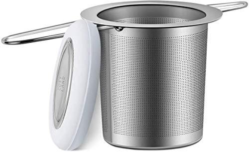 Cosyland Tea Infuser 18/8 Stainless Steel Tea Strainer Tea Filter Loose Tea Infuser Mesh Strainer Brewing Basket with Lid & Large Capacity & Double Handles – Grey