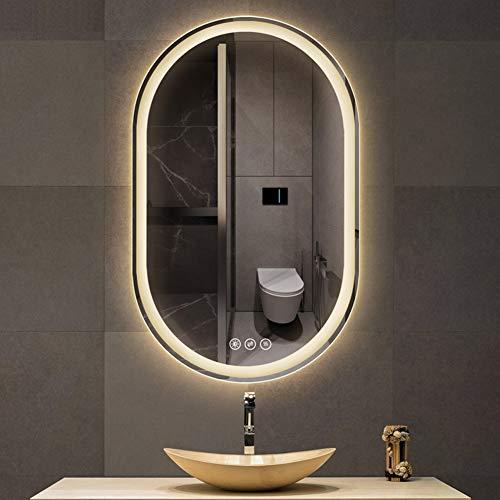 LED-Beleuchtungsspiegel für Badezimmer, Smart Touch-Schminkspiegel mit Licht, Dekorativer Spiegel zur Wandmontage, Stufenloses Dimmen | Kupferfreier Silberspiegel | Anti-Fog (60 * 90 cm)