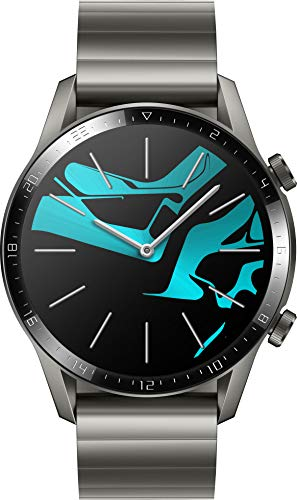 HUAWEI Watch GT 2 Smartwatch (46mm Full-Color-AMOLED, SpO2-Monitoring, Herzfrequenzmessung, Musik Wiedergabe&Bluetooth Telefonie, 5ATM wasserdicht, GPS) Titanium Gray [Exklusiv+5 EUR Amazon Gutschein]