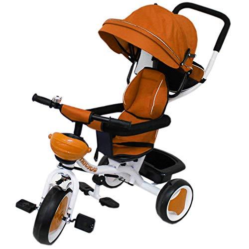 GQN Farano Store - Triciclo con Manico TRICYGO 2 in 1 Arancione Reversibile, TRASFORMABILE in Passeggino