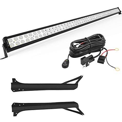LEDKINGDOMUS 300W 52 inches Light Bar with Mounting Brackets and Wiring Harness Compatible for 1997-2006 Jeep Wrangler TJ IP68 Waterproof Off Road LED Light Bar Spot Flood Combo Light