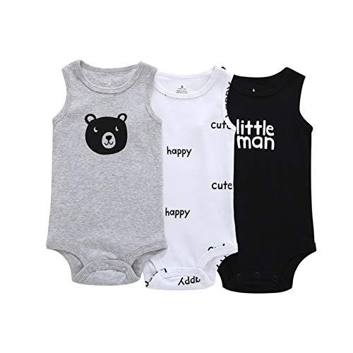 Youpin Body sin mangas para bebé niño niña ropa de verano 3 piezas/set 2020 recién nacido traje de cuerpo de algodón ropa 6-24M (color: 3, tamaño de niño: 18M)