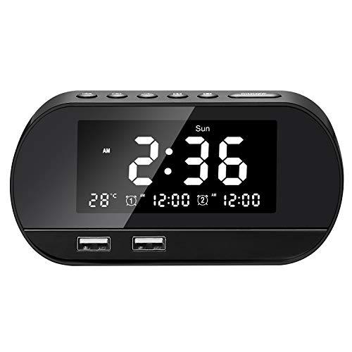 Radiowecker, FM Digitaler Wecker mit Zwei USB Ladeanschlüssen, Dual-Alarm mit Zwei USB Ladeanschlüssen, 6 Stufen Helligkeiten, Sleep-Timer,Schlummer,für Schlafzimmer,Kind,Büro (Schwarz)