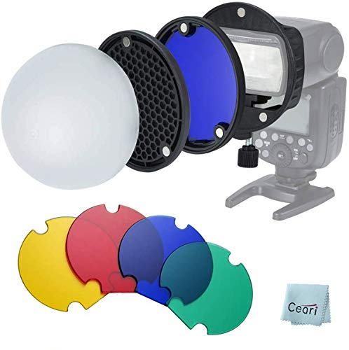 Triopo MagDome Kit con difusor, Rejilla de Panal, Gel de Color con Kit de Adaptador de Montaje Universal para Godox, Canon, Nikon, Sony, Yongnuo Speedlite