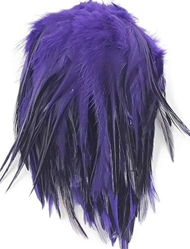 Creative Angler Saddle Hackle for Fly Tying, High-Grade Natural Rooster Feathers, Flies Tying Materials for Fishing (Purple)