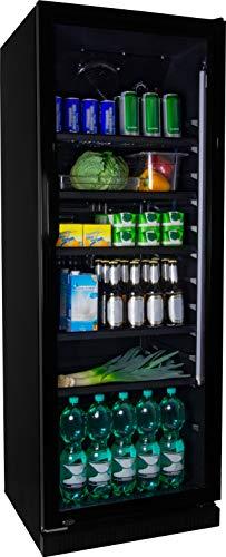 Getränkekühlschrank ZKB 360 schwarz Flaschenkühlschrank Kühlschrank mit Glastüre Gastro Getränkekühler