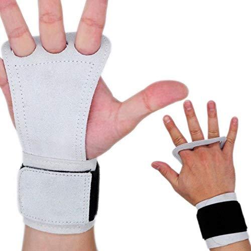 FICI 1 Paire de poignées réglables Coussinets antidérapants en Cuir poignées Pad Palm Protect Poignet Support Wrap Strap Gants Gym Accessorie, W, S
