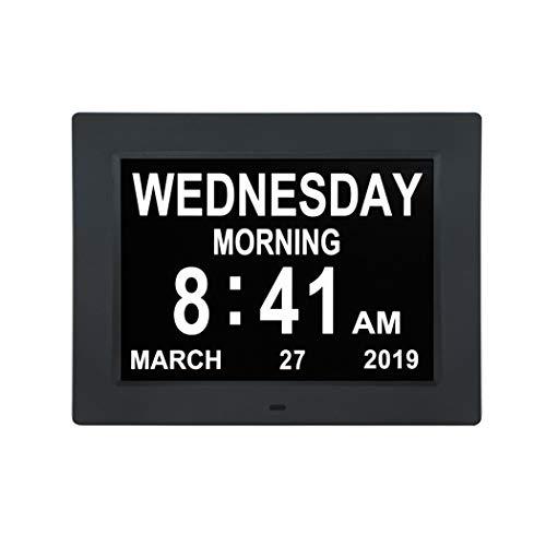 Cweu-home digitale kalender dagklok voor digitale wekker, 10 inch demenziedagklok (niet afgebreviated dag en maand) voor slechtzienden, blinden en ouderen, Alzheimer