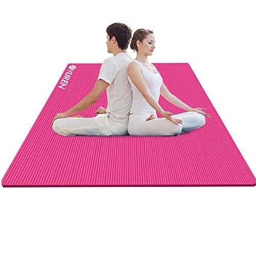 YUREN Tappetino da Yoga 200 x 130 cm 15mm Spessore NBR Antiscivolo per Pilates Tappeto Ginnastica Fitness Aerobica Allenamento XL Extra Largo