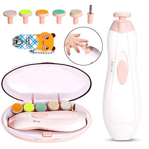 Baby Nagelfeile Elektrisch, WADEO Elektrischer Nageltrimmer für Babys, Nagelpflege Set Baby Nagelknipser Elektrische Manikürer mit LED Licht für Baby Nagelscheren (AA Batterien NICHT inklusive)