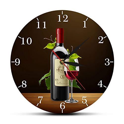 Reloj de Pared Vino Tinto y Blanco Bodega Signo de borrachera Cocina Moderna Botellas y Copas de Vino con Uvas Inicio Bar Taberna Reloj de Pared
