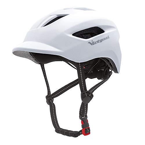 VICTGOAL Fahrradhelm für Herren Damen Städtischer Pendler mit LED Licht und Reflektierende Gurtbänder Erwachsene Fahrradhelm Mehr Sicherheit Leichter Stadt-Fahrradhelm (Weiß)