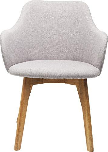 Kare Design Armlehnstuhl Lady Grey, moderner, bequemer Esszimmerstuhl, Polsterstuhl mit Armlehnen, Grau (H/B/T) 82x62x60cm