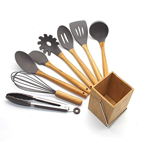 DGKNJ Kitchen Utensil Set 9pcs Bamboo Handle Silicone Kitchenware Set Cooking Tool Non-Stick Pan Cooking Utensils Kitchen Tool Set Gift...