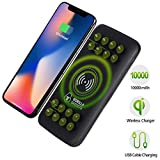 Gorilla Gadgets Wireless Portable Charger Power Bank, 10000mAh Anti-slip System 2-Port Type-C Input External Battery Pack Compatible with iPhone XR/X/XS/Max/8/8+ Galaxy s9/s9+/S8/S8+/s7 Note 9/8 (BLK)