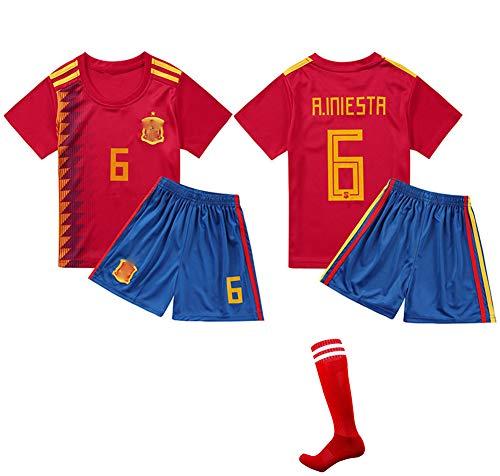 CHSC # 10 Iniesta Fußballuniform Trikot Trikotset Jersey,Outfit Kinder Kurzarm Shorts Socken Trainingsbekleidung Wettbewerb Fan-Ausgabenweste 1 Set red-16