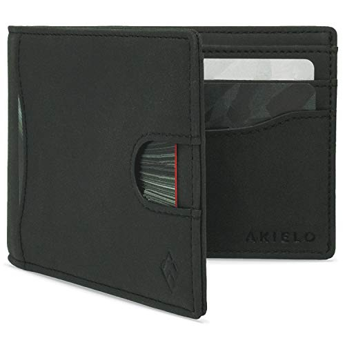 AKIELO RFID Blocking Bifold Card Wallet with Pull Tab and Gift Box – Stylish Mens Wallet – Credit Card Holder Wallets for Men (Delta Collection)