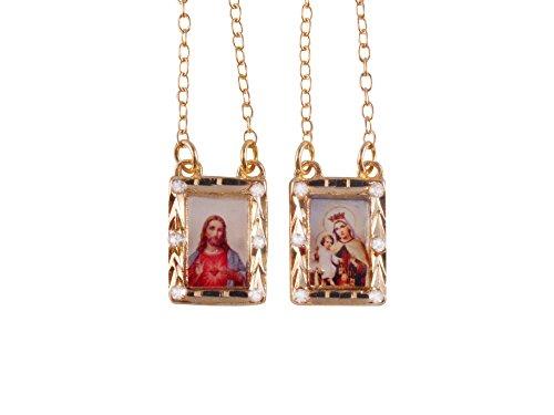 Prado Catholic Shop Scapular - Gold-Plated Color Scapular with Strass