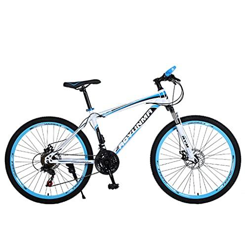 Mountain Bike Bicicleta de Freno de Disco Doble de Marco Engrosado de Acero de Alto Carbono (24/26 Pulgadas 21/24/27 velocidades Blanco y Azul; Negro y Verde; Negro y Rojo; Blanco y Negro)