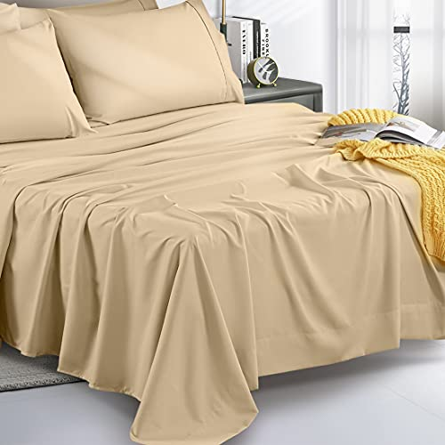 UNILIBRA 4 Pieces Super Soft Premium Twin XL Bed Sheet Set, 1800 Thread Count, 16'' Deep Pockets, Wrinkle & Shrink & Fade Resistant Bedding Set (Twin XL, Cream)