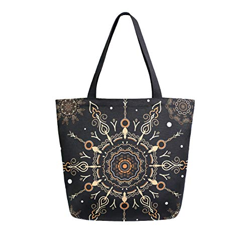 iRoad Women Canvas Bags Tribal Floral Mandala Shopping Purse Handbag Reusable Grocery Bags Large Canvas Bag Tote for Travel School Work