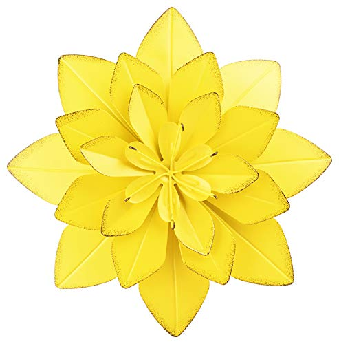 Metal Flowers Wall Decor Outdoor Art Yellow Layered Flower for Bedroom Living Room Patio Decoration 10.4' X 1.9'
