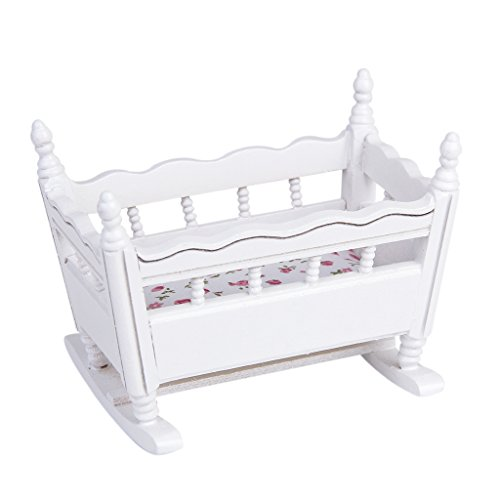 1/12 Puppenhaus Miniatur Weiß Holz Kindergarten Wiege Babybett