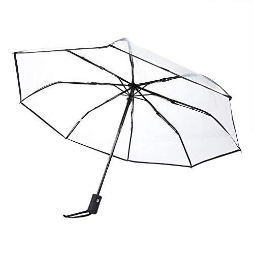 Oumefar Paraguas automático de Tres Pliegues con asa esmerilada Plegable automático portátil para Exteriores Se Adapta a una Mochila para los días de Lluvia(Black)