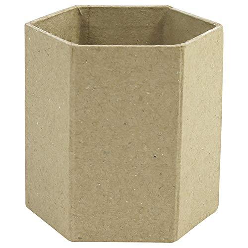 Décopatch AC794C Stifteköcher (aus Pappmaché, sechseckig, 8 x 8 x 7 cm, zum Verzieren und Personalisieren, ideal für Ihre Hausdeko) 1 Stück kartonbraun