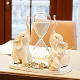 MultifuncióN Estante Almacenamiento Baldas Reloj de arena Adornos de tres elefantes, resina blanca Regalos creativos for niños Manualidades de temporizador de decoración de sala de estar simple, 30 *