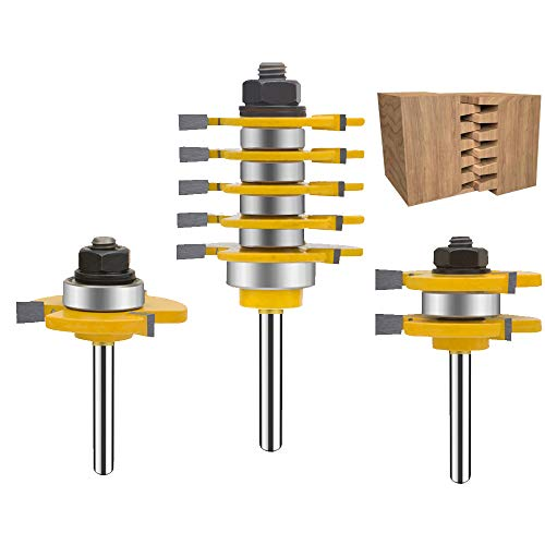 TAIWAIN Router Bit Set 5 Finger Joint 1/4 Inch Shank 3PCS, Woodworking Cutter Reversible Finger Glue Joinery Router Bits, Wood Miter Carbide CNC Cutting Tool(F-1-145Z)