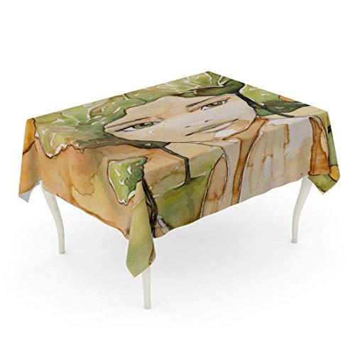 LIS HOME Rechteck-Tischdecken-Aquarell-Porträt der Schönheit die ursprünglichen Kaffeeflecken und Farben Autumn Brown Landscape Table Cloth