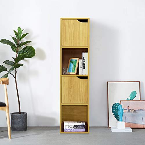 FurnitureR Estantería de exhibición independiente, estante de almacenamiento de 4 cubos con 2 puertas, gabinete de almacenamiento para libros, fotos, estante de almacenamiento organizador para la sala de estar de la oficina en casa Hay
