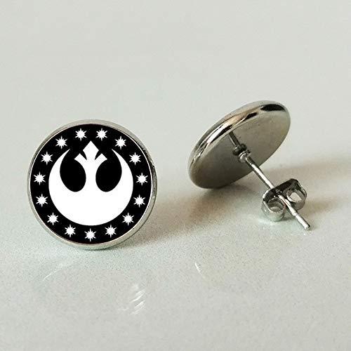 Pendientes de tuerca de Star Wars, de cristal de Nueva República, redondos, con ancla de plata, para hombres y mujeres