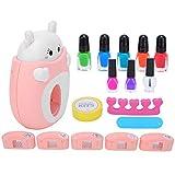 Juego de arte de uñas para niños, juego de manicura para niños, juego de esmalte de uñas para niños seguro y duradero, delicado interesante para niños, niñas y mujeres(Pink)