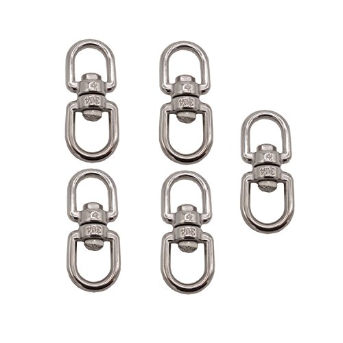 D-Worthy Pack of 5 Stainless Steel Hanging Basket Spinners Swivel Hook for Hanging Plants Pot Wind Chimes Bird Feeder (1-7/8)