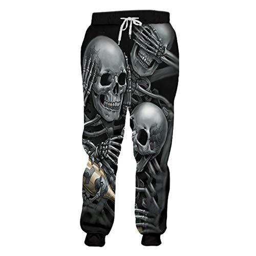 KIUYMRV Herren-Jogginghose mit coolem Aufdruck, Skelett-Totenkopf, champagnerfarben, 3D-Haremshose, elastische Taille, volle Länge Gr. XL, Skelett-Schädel
