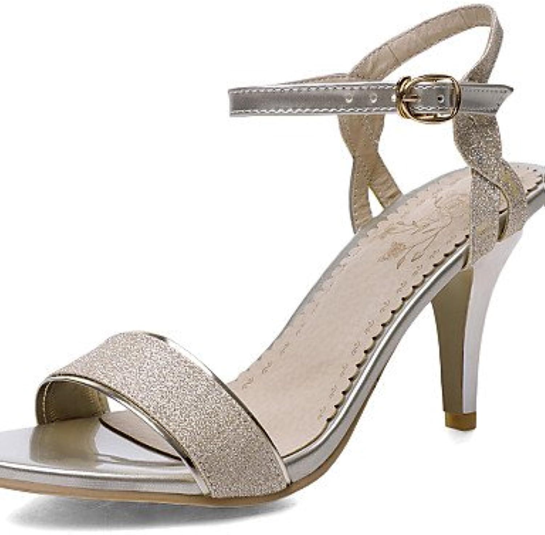 MEIREN Women's shoes Kitten Heel D'Orsay & Two-Piece Open Toe Sandals Office & Career Dress Silver gold