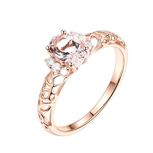 Daesar Frauen Ringe 18K Rotgold Filigran mit Oval Morganit 0.91ct Hochzeitring Damen Verlobungsring Diamant Gr. 63 (20.1)