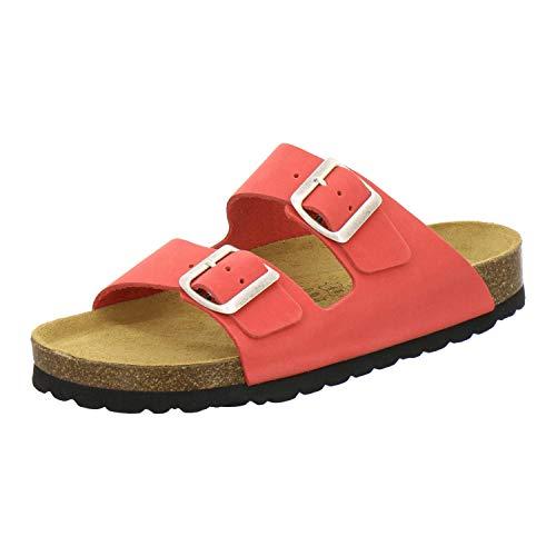 AFS-Schuhe 2100, Bequeme Damen Pantoletten echt Leder, praktische Arbeitsschuhe, Hausschuhe, Handmade in Germany (39 EU, rot)