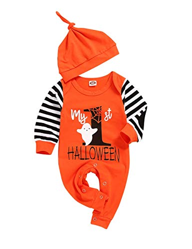 Ttkgyoe Halloween Baby Boy Girl Outfit Mein erster Halloween Kürbis Hoodie Strampler Bodysuit Einteiliger Overall