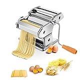 RELAX4LIFE Manuelle Nudelmaschine, Pasta Maker, Pasta Walze Maschine mit Tischklemme & Kurbel, Pastamaschine für Spagetti & Lasagne & Bandnudeln, Nudelmaker 2 Breite & 6 Teigdicken, Edelstahl, Silber