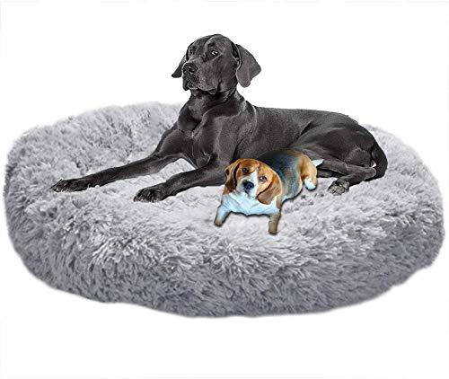 LINRUI Antistress Donut Hundebett Hoch XXL,Kuscheliges Hundekissen Memory Foam Flauschiges XXL Orthopädisch Oval Rund XL Hundehöhle für Mittelgroße große Hunde,Abwaschbar Grau