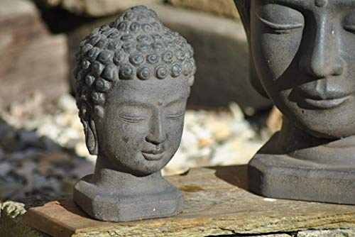 Kunert-Keramik Buddhakopf,Buddhastatue,anthrazit/schwarz,24cm hoch,