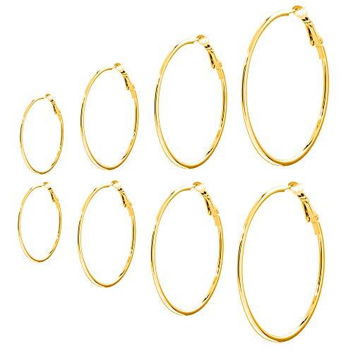 4 Paar hypoallergene Titan Stahl Creolen 14k vergoldet Damen Ohrringe für Männer Frauen 30mm-60mm
