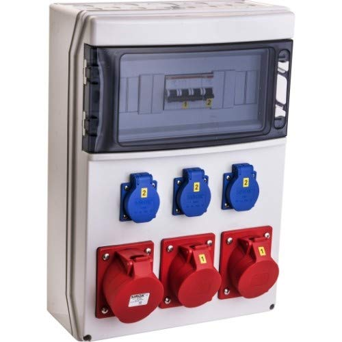 "VOTHA® - Distribuidor de pared con cable \""WERSAU\"" sin interruptor FI, enchufe 230 V~ 4, CEE 16 A, 400 V~ 1, CEE 32 A, 400 V~ 1, LS 16 A, 1 pin, C 2, LS 16 A, 3 pines, C 1, LS 32 A, 3 pines, C 1"