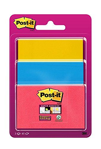 Post-It 3432SS3-BYP-EU – Pack de 3 blocs de notas adhesivas, 47,6 x 47,6 mm, multicolor (azul mediterráneo / amarillo…