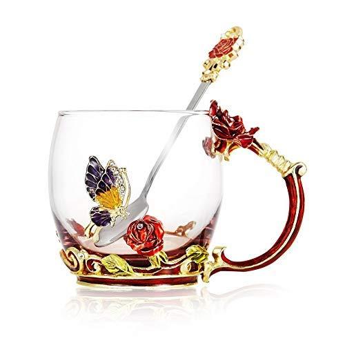 Kaffeetasse Tassen Klarglas und Löffel Handgemachte Schmetterling Rose 12 Unze Frauen Schmetterling Teetasse Geschenk