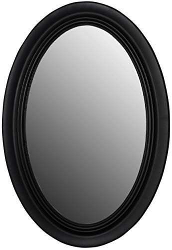 Mirrors and More Wellsandra Black Framed Oval Non Bevel Bath Mirror | (3) D-Rings Hardware | 21' x 31' Wall Mount| Bathroom| Kitchen | Vanity Mirror |Vertical or Horizontal 2-Way Hanging System